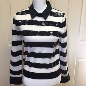 New Alice &olivia sequin striped sweater